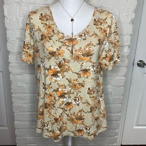 White Stag Tan And Orange Floral Tee XL